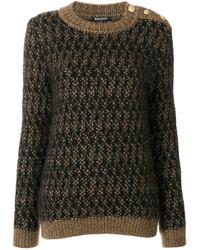 Balmain Textured Crew Neck Sweater