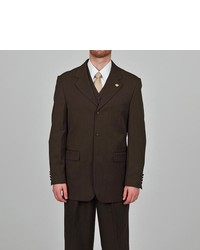 Stacy Adams Dark Brown 3 Button Vested Suit