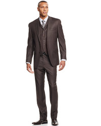 Sean John Olive Pindot Vested Classic Fit Suit
