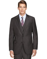 Brooks Brothers Regent Fit Three Piece Saxxon Wool Plaid 1818 Suit