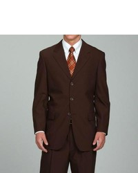 Unity Nick Carlo Lusso Solid Brown Three Button Suit
