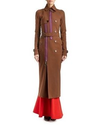 Givenchy Zip Trim Long Belted Trenchcoat Chocolate