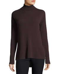 Neiman Marcus Cashmere Collection Side Slit Cashmere Turtleneck