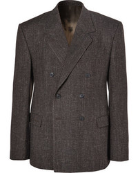 Balenciaga Brown Double Breasted Wool Blend Tweed Blazer
