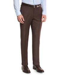 Twill trofeo wool flat front trousers tobacco medium 603431