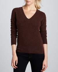 How to Wear a Dark Brown V-neck Sweater (8 looks) | Women's Fashion