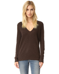 Women's Dark Brown V-neck Sweaters by Theory | Women's Fashion