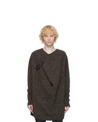 Raf Simons Brown And Grey Wool Pin Sweater