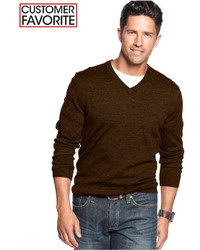 Men's Dark Brown V-neck Sweaters from Macy's | Men's Fashion