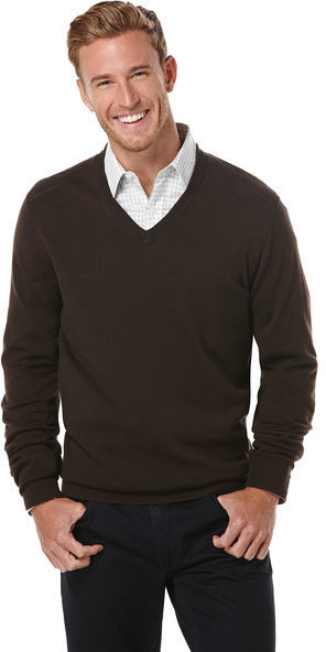 Perry Ellis Mens Solid V-Neck Sweater