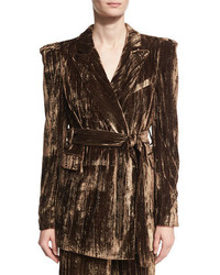 Long metallic crinkle velvet blazer brown medium 4471639
