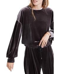 Madewell Velvet Balloon Sleeve Sweatshirt