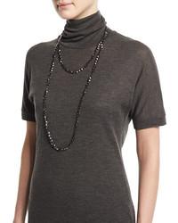 Brunello Cucinelli Hematite Beaded Long Necklace Velvet