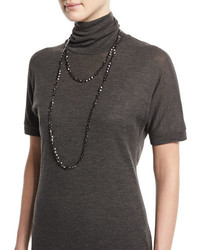 Brunello Cucinelli Hematite Beaded Long Necklace Velvet