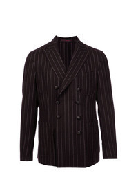 Dark Brown Vertical Striped Double Breasted Blazer