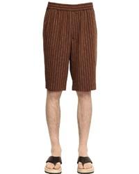 Dark Brown Vertical Striped Shorts
