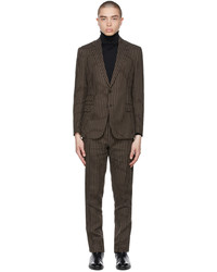 Ralph Lauren Purple Label Brown Off White Kent Striped Dobby Suit