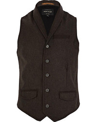 River Island Brown Smart Shawl Neck Vest
