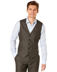 Perry Ellis Solid Herringbone Vest