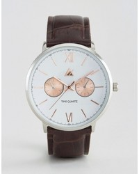 Asos Watch With Croc Effect Strap And Mixed Metal Case