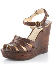 Dark brown wedge sandals original 2460651