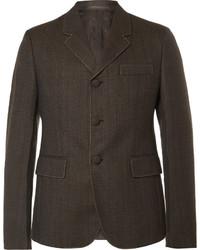 Prada Brown Slim Fit Contrast Stitched Wool Blazer