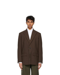 Valentino Brown Technical Wool Blazer