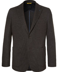 Canali Brown Unstructured Wool And Cotton Blend Blazer