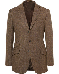 Cordings brown rish herringbone donegal wool tweed blazer medium 1314690