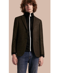 Burberry Slim Fit Prince Of Wales Check Wool Blend Jacket