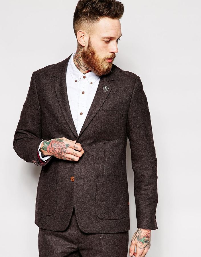 Farah Vintage Suit Jacket In Brown Herringbone | Where to buy ...