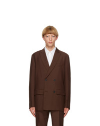 Valentino Brown Canvas Double Breasted Blazer