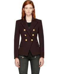 Brown wool six button blazer medium 5311376