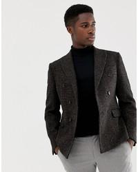 ASOS DESIGN Slim Double Breasted Blazer In 100% Wool Harris Tweed