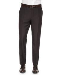 Incotex Benson Sharkskin Wool Trousers Dark Brown