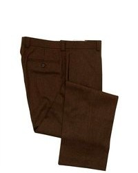 Ralph Lauren Flat Front Brown Flannel Wool Dress Pants