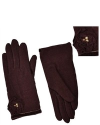 Dahlia Pearls Faux Pearl Accented Flower Wool Dress Gloves Brown