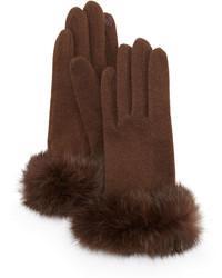Fur cuff knit tech gloves dark brown medium 373309