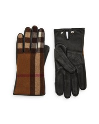 Burberry Gabriel Check Wool Leather Gloves