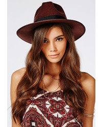 Missguided Alaga Felt Fedora Brown