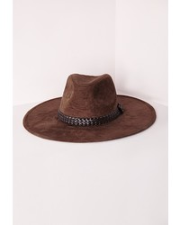 Missguided Suedette Wide Brim Fedora Brown