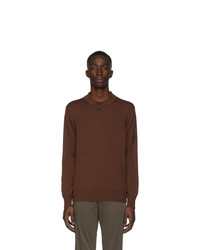 Z Zegna Brown Wool Long Sleeve Polo