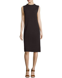 Eileen Fisher Sleeveless Funnel Neck Wool Sheath Dress Clove