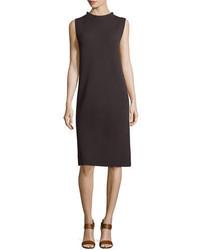 Eileen Fisher Sleeveless Funnel Neck Wool Sheath Dress