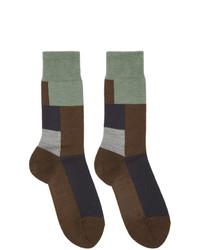 GR-Uniforma Brown Wool Mixed Textured Socks