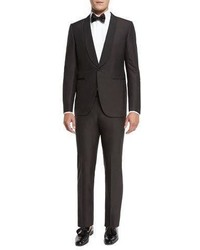Grosgrain collar tuxedo suit brown medium 782758