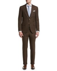 Isaia Sanita Solid Wool Two Piece Suit Brown
