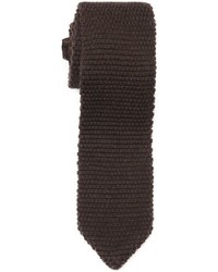 Z Zegna Brown Wool Knit Skinny Tie