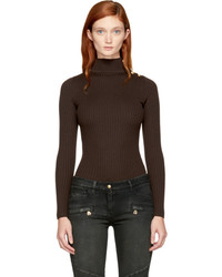 Balmain Brown Buttoned Turtleneck
