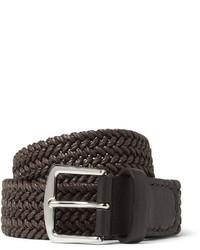 Dark Brown Woven Leather Belt